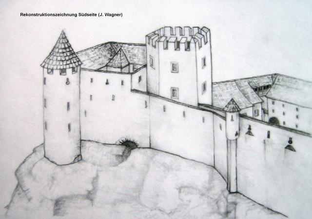 Südseite der Burg (Rekonstruktion)